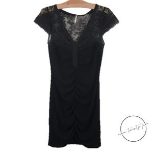 Free People Black Rouched Lace Dress Bodycon